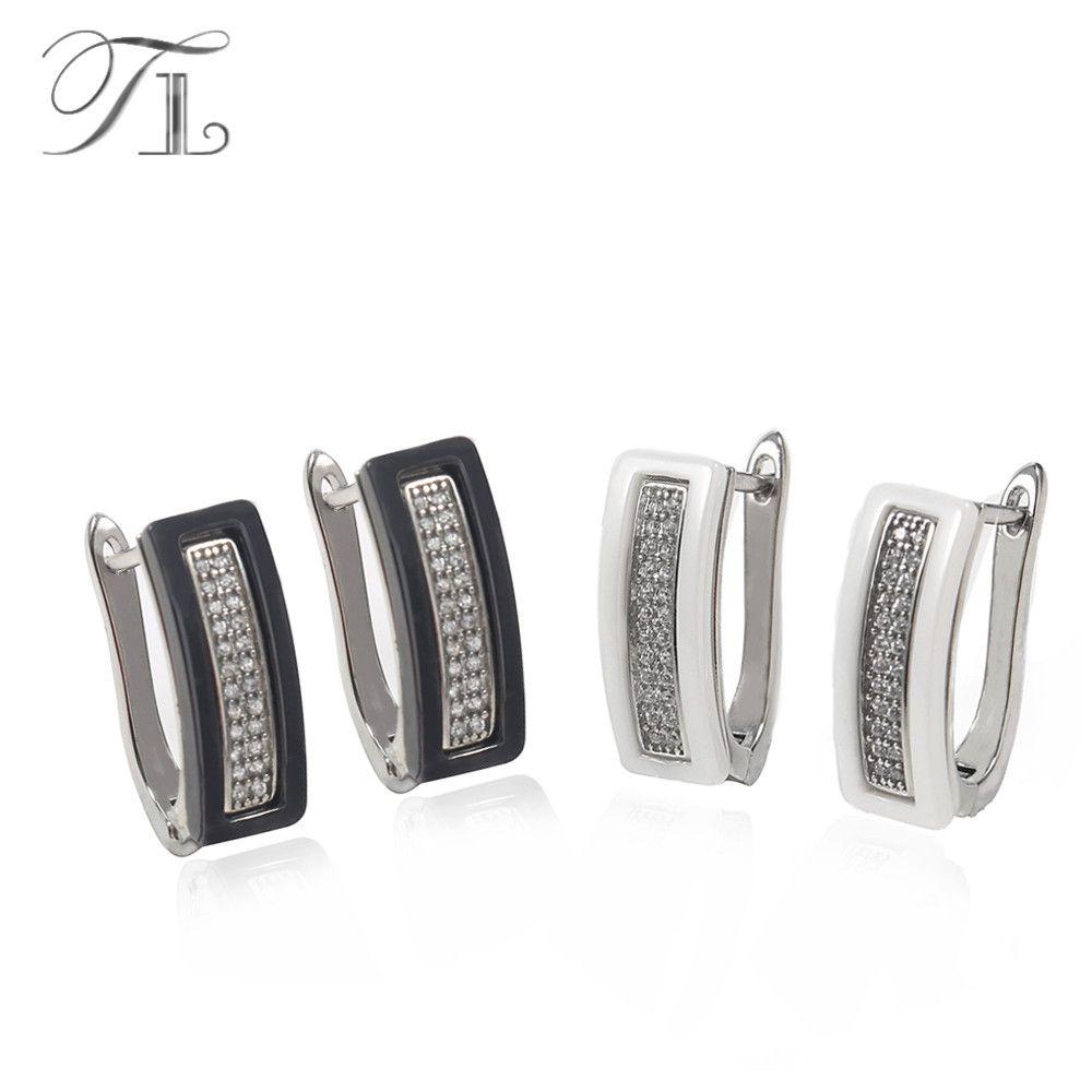 TL U Форма Керамика Серьги-гвоздики для Для женщин проложить Установка Полный AAA + Кристаллические серьги черные и белые квадратный Керамика ...