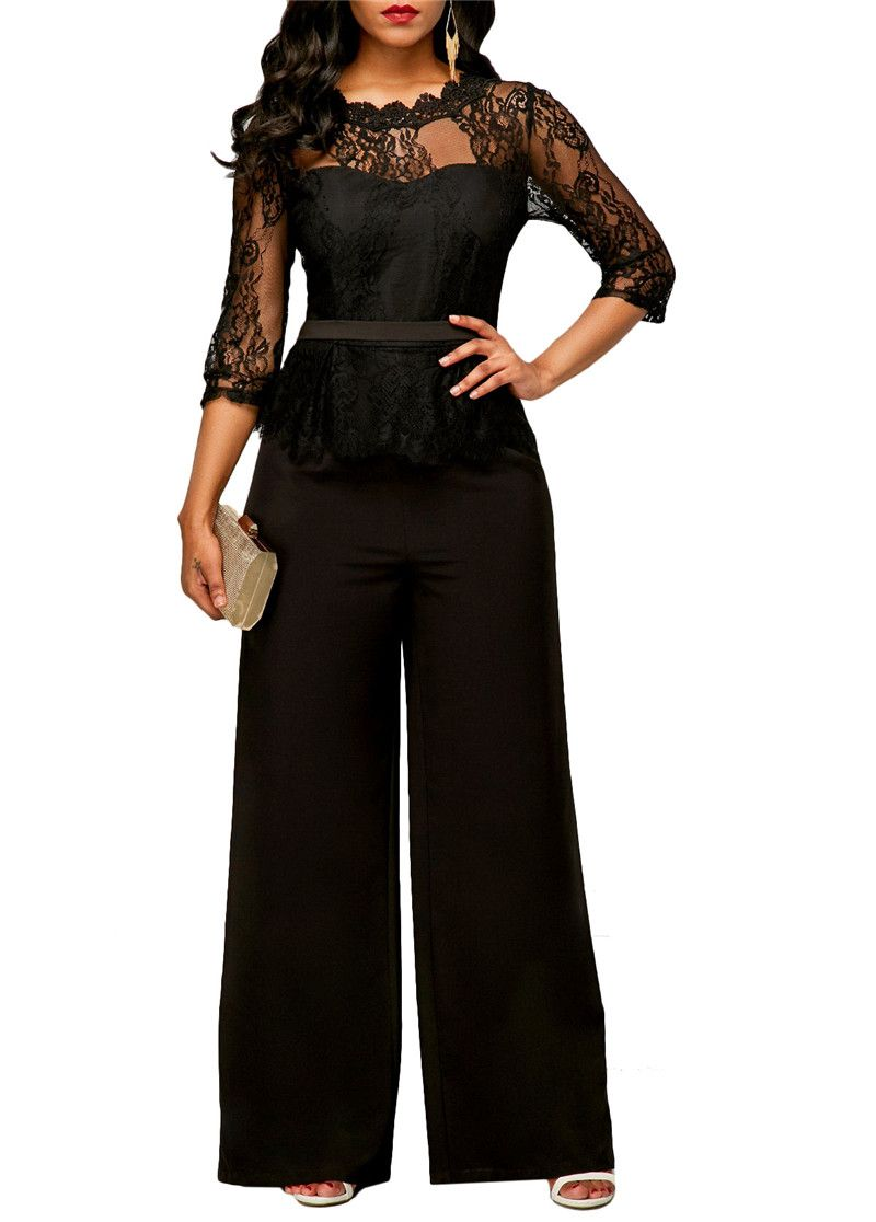 Sexy Perspective Lace Jumpsuits Autumn Women Long Sleeve Zipper <font><b>Wide</b></font> Leg Rompers Ladies Office Casual One Piece Pants Overalls