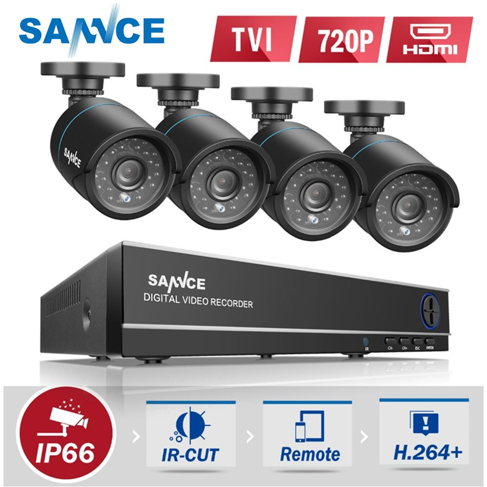 SANNCE 4CH HD 1080P 4IN1 DVR CCTV System 4pcs 720P TVI Security Cameras p2p Outdoor Waterproof Camera Surveillance kit