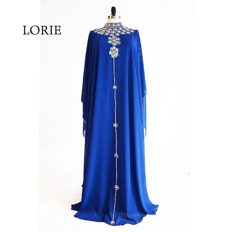 LORIE Muslim Evening Dress High Neck Beaded with Rhinestones A-Line Chiffon Royal Blue Prom Dress for Party vestido de festa