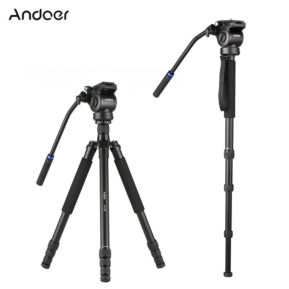 Andoer A-618 180cm Camera Tripod Video Monopod w/ Damping Head Low Angle Macro Panoramic Photography for DSLR Camara