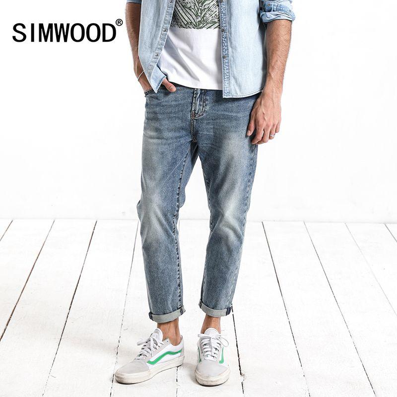 SIMWOOD 2018 Printemps Été Nouveau Lavage Foncé Cheville-Longueur Jeans Hommes Slim Fit Vintage De Base Bleu Haute Qualité Marque vêtements 180057