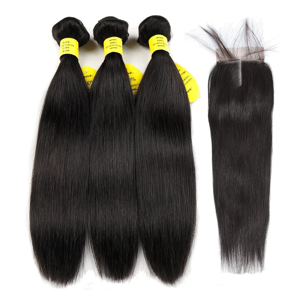 Queen like Hair Products Human Hair Bundles Lace Closure Non Remy Hair Weft Brazilian Straight Hair Weave 3 Bundles With Closure