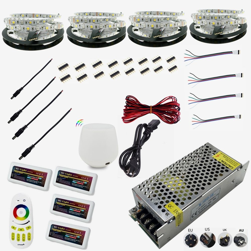 WIFI 12V Flexible LED Strip 5050 300LED 5M/RollRGBW RGB IP65 Waterproof 20M LED String Dimmable Ribbon LED Rope Tape Kit