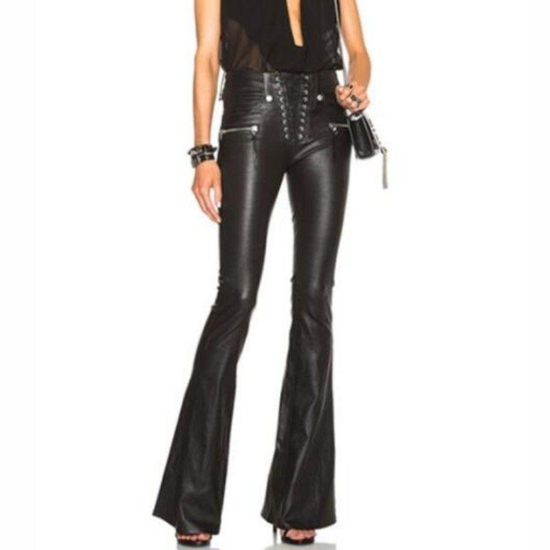 Cool Punk Mode Femmes Lace Up Slim Fit Pantalon Femelle Évasée Cloche-Bas PU Pantalon En Cuir Taille XS-XL Livraison Gratuite