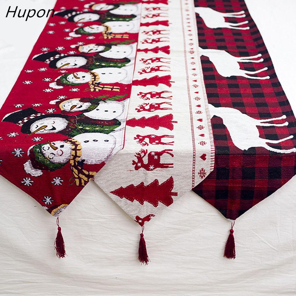 Coton brodé chemin de Table de noël 180*35 cm cerf arbre de noël chemin de Table couverture en tissu pour la décoration de la maison nouvel an