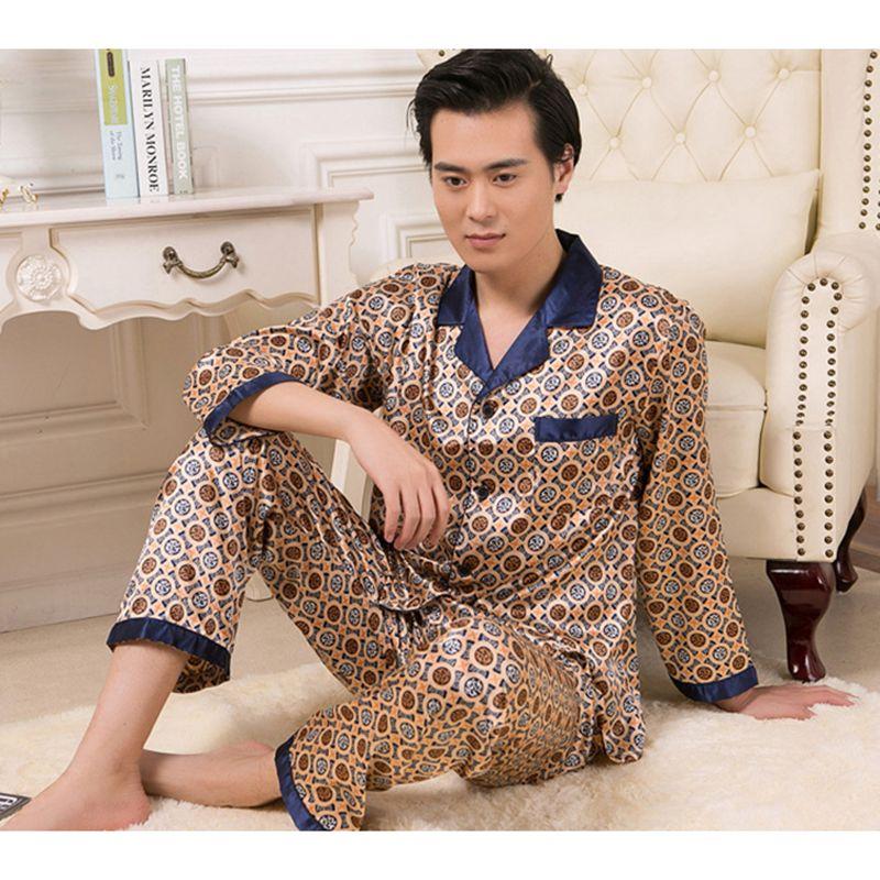 Новый Для мужчин пижамы Наборы для ухода за кожей с длинным рукавом Удобная Для мужчин пижамы V Средства ухода за кожей Шеи гладкой мужской к...