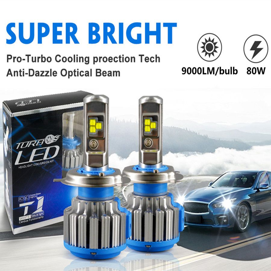 DIC Turbo LED H4 H7 High Low Beam 35W 9000LM Headlight H1 H11 9005 HB3 9006 HB4 H13 H3 <font><b>9007</b></font> HB5 880 H27 T1 Fog Light Car-styling