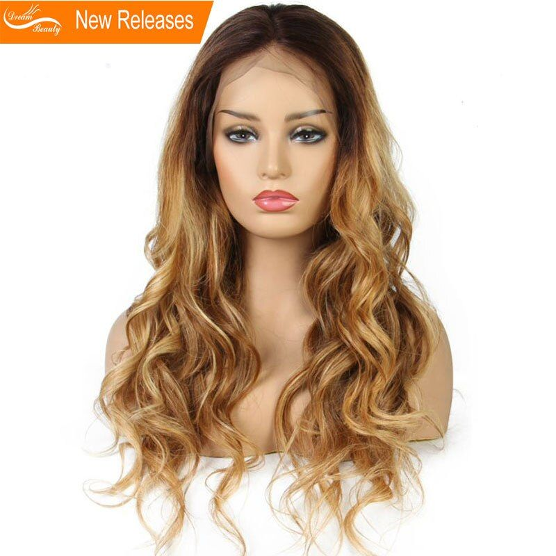 Ombre honey blond wavy Wig 180Density Lace Front Human Hair Wigs Pre Plucked Hair mixed #4/30/27 Wig Brazilian Remy Hair