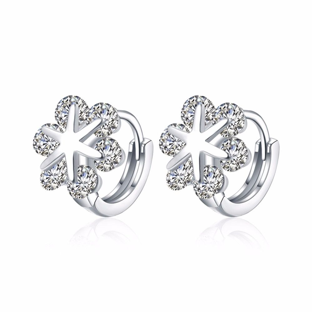Silver Color Round white Crystals Snowflakes Circles Loops Small Huggie Hoop Earrings For Women Children Girls Baby Kids Jewelry