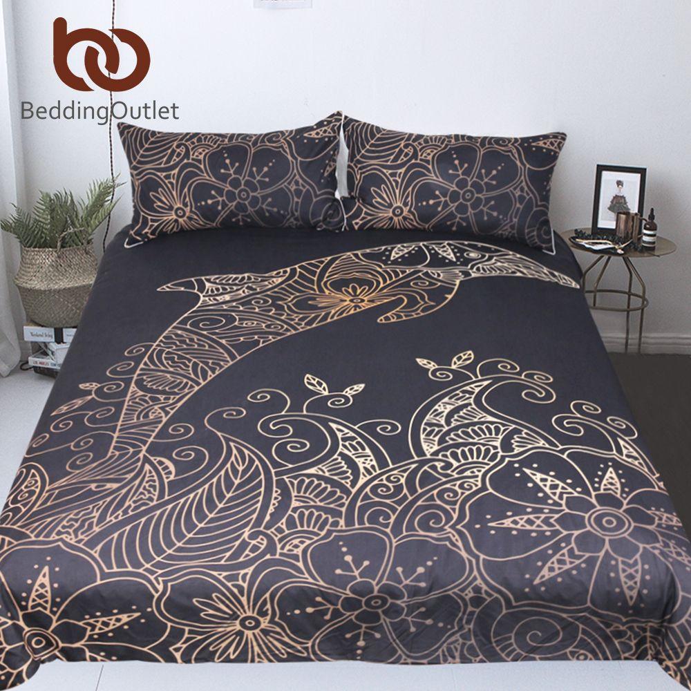 BeddingOutlet Golden Dolphin Bedding Set Queen King Bohemian Duvet Cover Plum Flower Bed Set Animal Print Bedclothes 3pcs