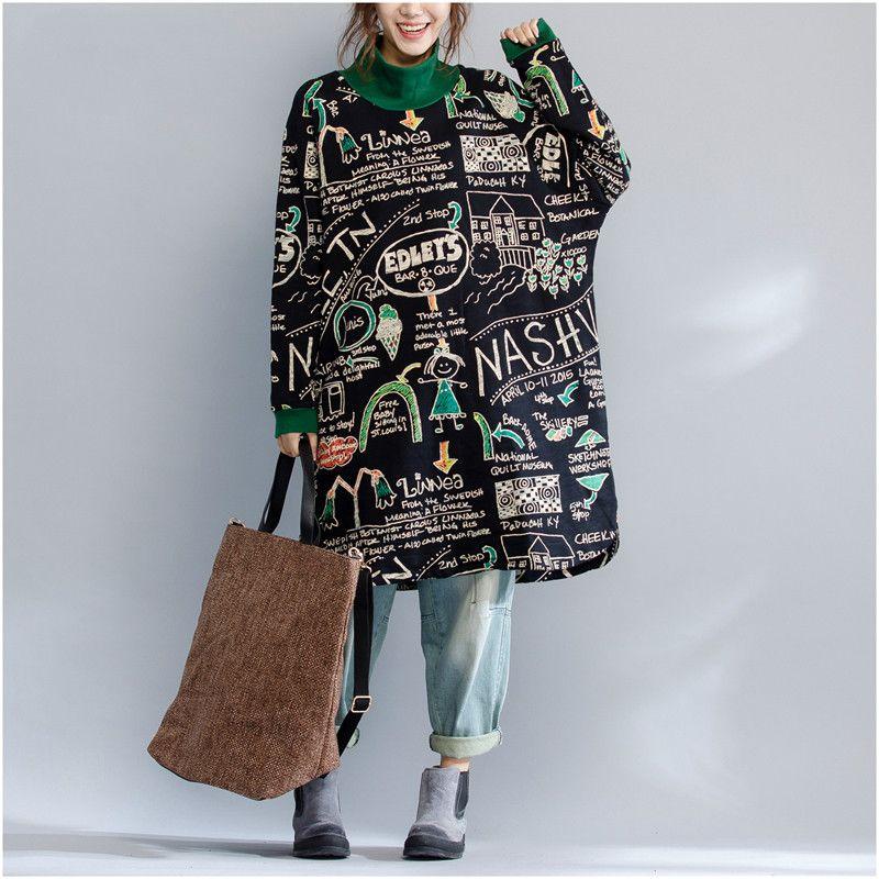 Plus Größe Herbst Winter Verdickung Langes Sweatshirt Weiblich Vintage Lose Turltleneck Buchstabedruckes Sweatshirt Tops