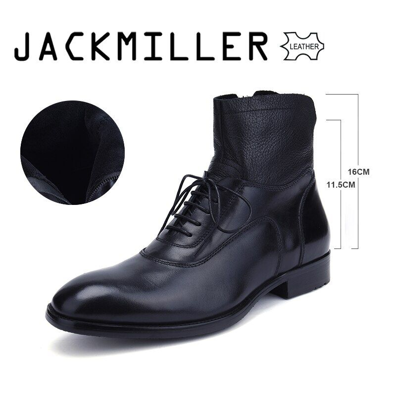 Jackmiller Gute Marke männer Stiefel Ankle Low Ferse Business Party Boot Grundlegende Kleid Stiefel für Männer Echtes Leder Solide schwarz 39-45