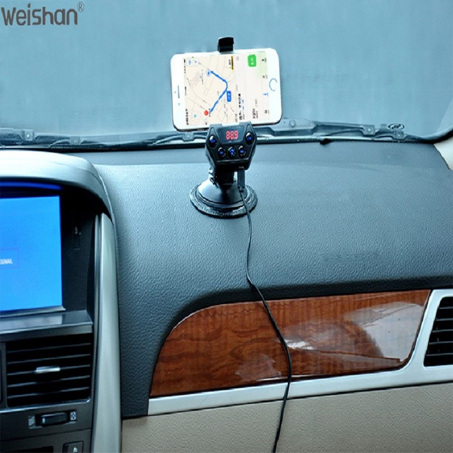 weishan Wireless Bluetooth FM <font><b>Transmitter</b></font> Modulator Car Radio Adapter Car MP3 Player Dual USB Car Charger Handsfree Car Kit