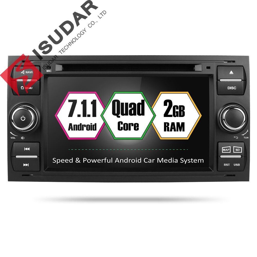 Isudar Car Multimedia Player Android 7.1.1 GPS Autoradio 2 Din 7 Inch For Ford/Mondeo/Focus/Transit/C-MAX/S-MAX/Fiesta 2GB RAM