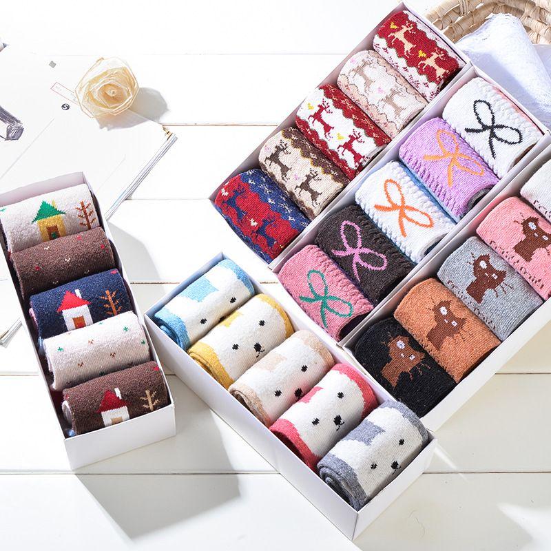 (5 пар/лот) женские Модные носки с мультяшным рисунком теплая шерсть Носки для девочек повседневная женская обувь Брендовая зимняя Носки для...
