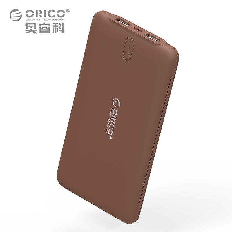 ORICO 10000mAh Power Bank Dual USB External Li-polymer Battery 2.4A Power Bank <font><b>Smart</b></font> Identification Charger Universal