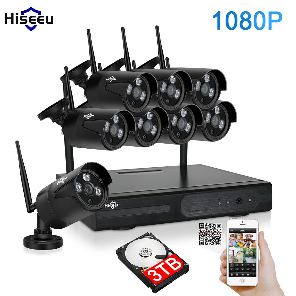 2MP CCTV System 1080P 8ch HD Wireless NVR kit 3TB HDD Outdoor IR Night Vision IP Wifi Camera Security System Surveillance Hiseeu