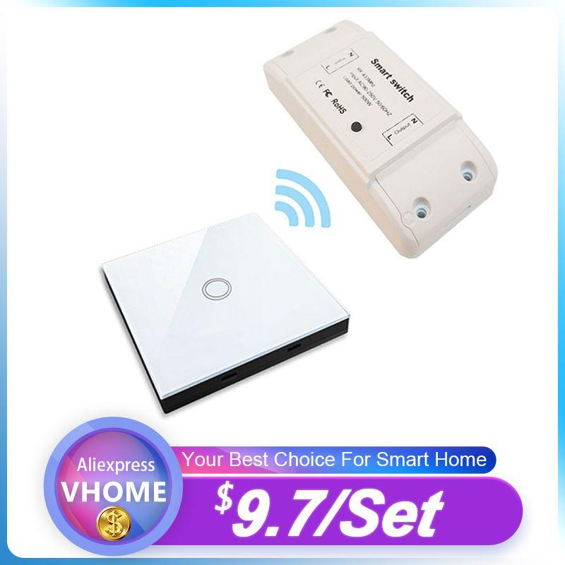 VHome Smart télécommande commutateur tactile RF 433MHz relais récepteur AC puissance 90 v-250 v 5A lampe LED sans fil interrupteur transmetteur