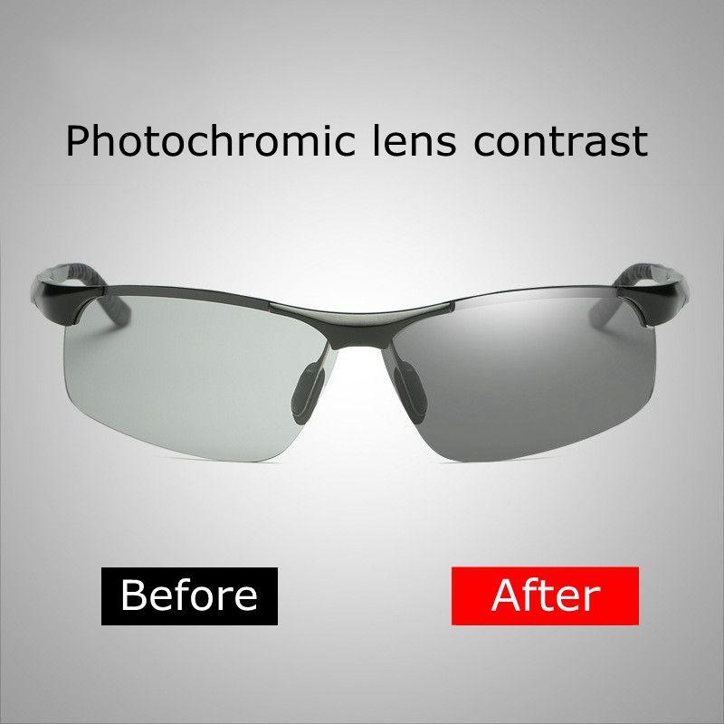 TAC Polarized Photochromic Semi-Rimless Sunglasses Driver Rider Goggle Chameleon Change color Glasses Men Women Sunglasses