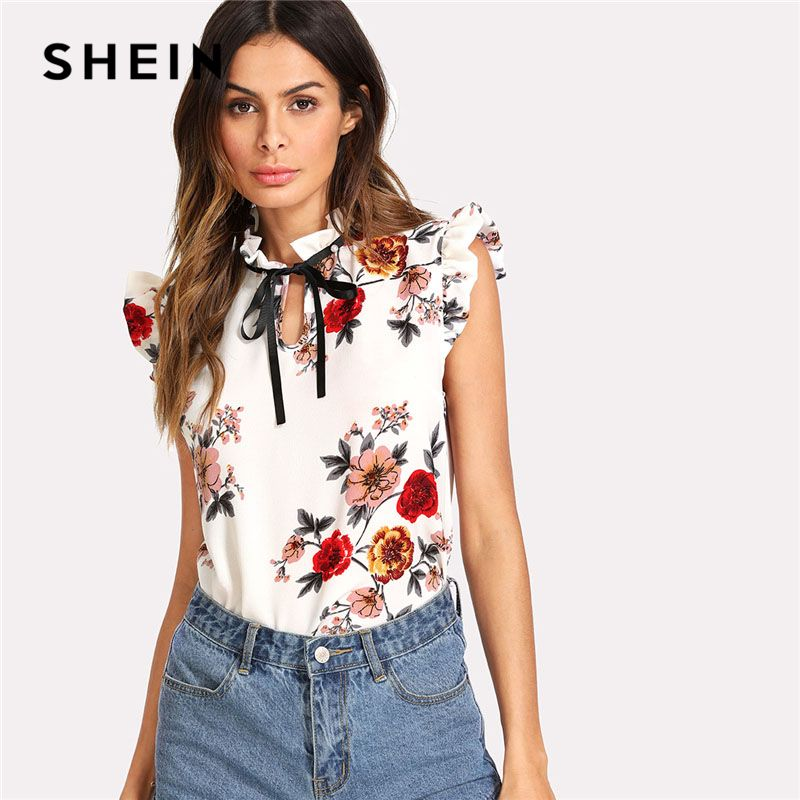SHEIN Pearl Beading Embellished Frill Trim Floral Top Women <font><b>Stand</b></font> Collar Sleeveless Tie Neck Bow Blouse 2018 Casual Blouse
