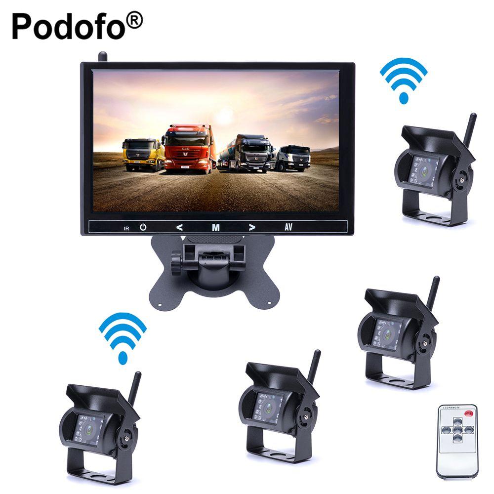 Podofo Drahtlose 4 Kameras Wasserdicht 18 IR Nachtsicht, 9 Zoll HD-Monitor Rückansicht Monitor für Lkw/Anhänger/RV