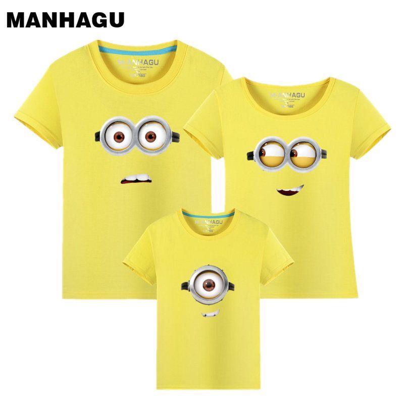 Manhattan marque 1 pièce famille correspondant tenues Minions t-shirts mère & enfants T-shirt famille vêtements mère fille père fils