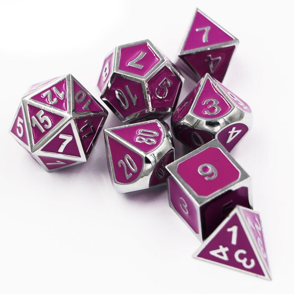 Подземелья и Драконы 7 шт./компл. Творческий RPG Игральная кость D & D Металлический Игральная Кость Эмаль фиолетовый и белый цифровые DND игры иг...