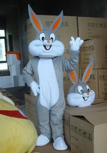 Haute qualité taille Adulte de Dessin Animé bugs bunny lapin Mascotte Costume de mascotte cosplay halloween costume de noël Fou Vente
