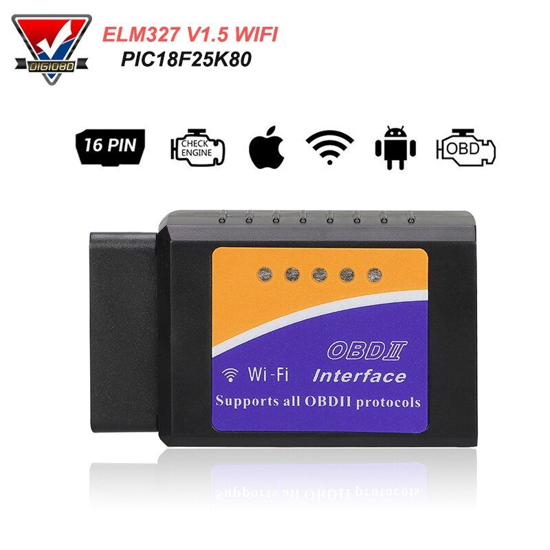 PIC18F25K80 ELM327 WIFI V1.5 OBD2 Scanner Car Fault Code Reader OBDII Scaner Adapter Auto Diagnostic Scan Tool for IOS Android