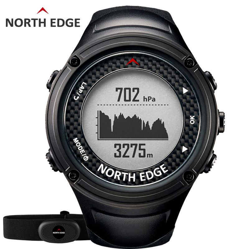 NORTH EDGE Men's Sports GPS watch men Digital watches Waterproof Heart Rate Monitor Altimeter Barometer Compass hours Hiking