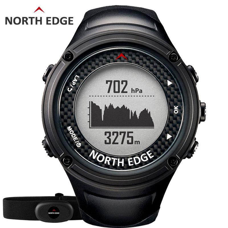 NORTH EDGE Men's Sports GPS watch men Digital watches Waterproof Heart Rate Monitor Altimeter Barometer Compass hours Hiking