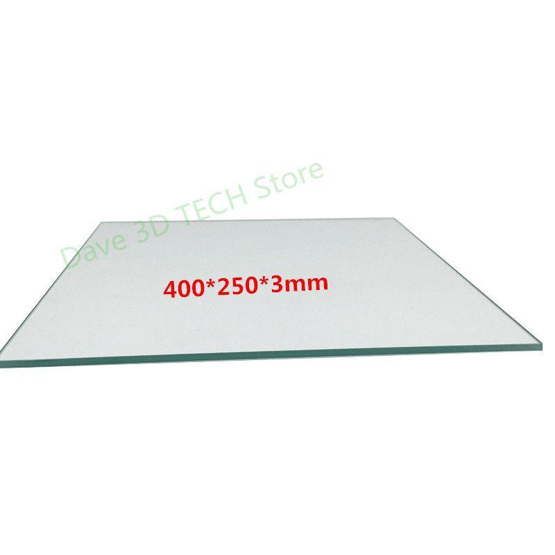 400x250x3mm Borosilicate Glass Plate Bed Polished Edge for Black Widow 3D Printer heated bed Custom glass