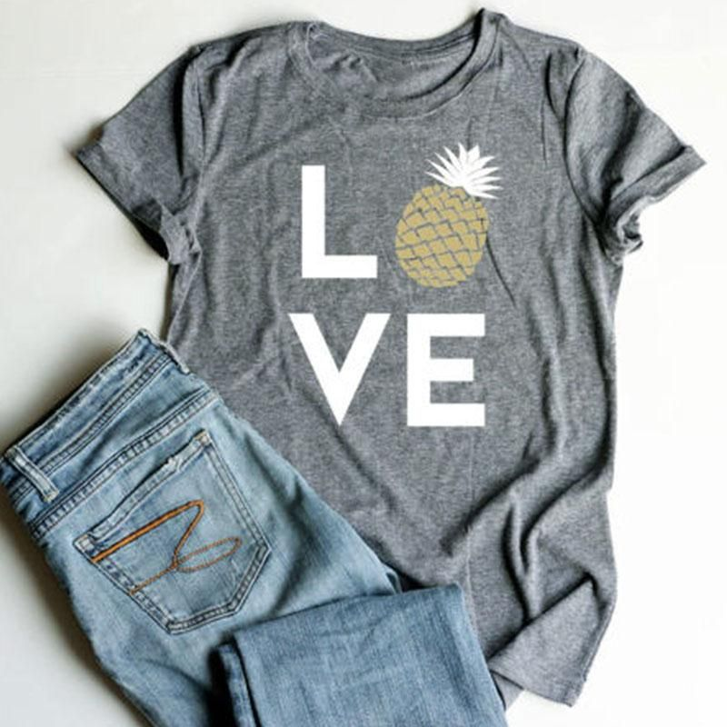 Plus Size Summer Women T-Shirt Tops Love Pineapple Print Gray Top O-Neck Short Sleeve Casual T shirt Female Tee Ladies 3XL