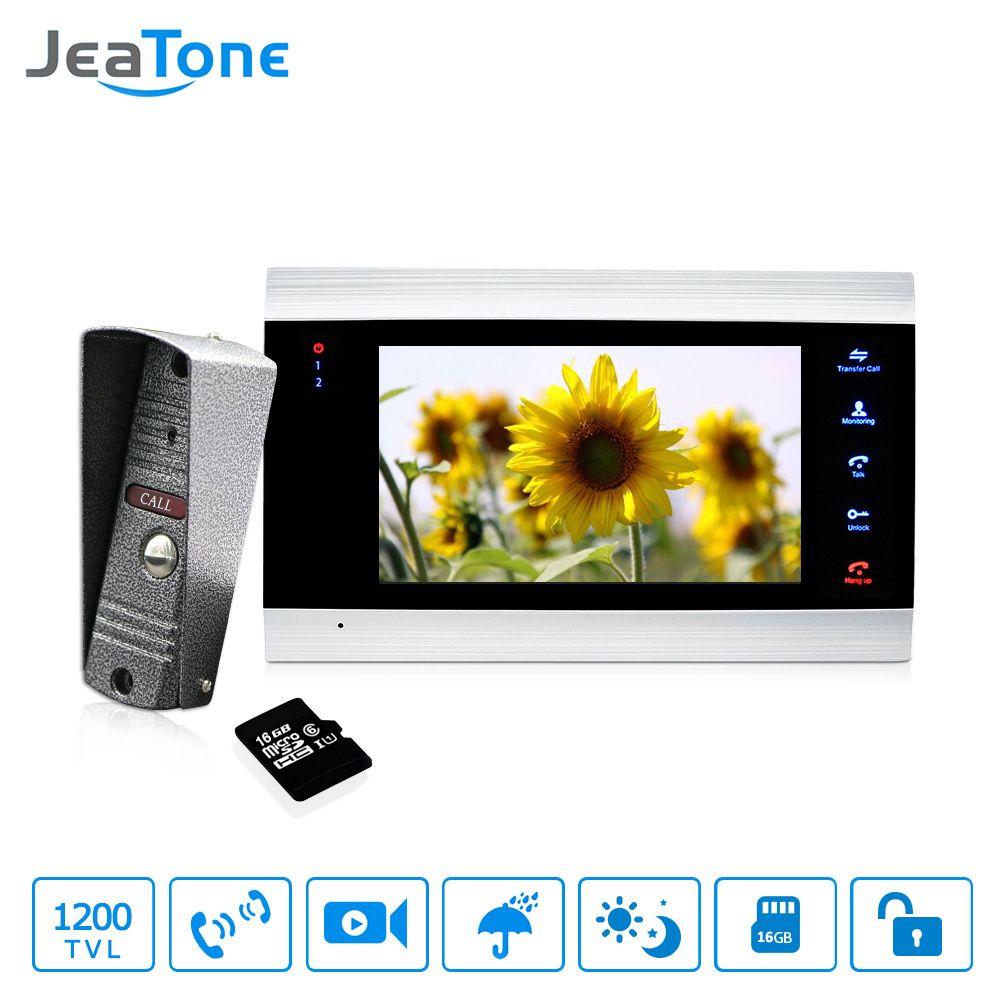 7 zoll Touch-Taste Video Türklingel Intercom Wasserdichte Tür sprechanlage 1 monitor + 1 türsprechanlage + 16G Sd-karte Kostenloser Versand
