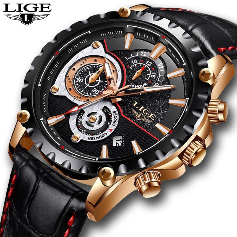 LIGE Mens Watches Top Brand Luxury Quartz Gold Watch Men Casual Leather Military Waterproof Sport Wrist Watch Relogio Masculino