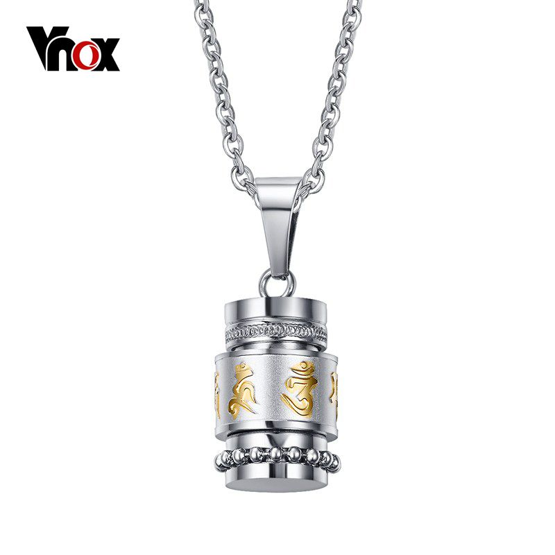Vnox Cool Rotatable Mantra Necklaces & Pendants Stainless Steel Prayer Necklace Men Jewelry Free Chain 20