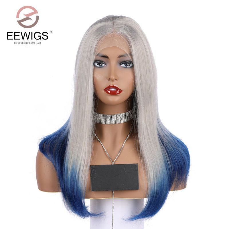 EEWIGS Synthetic Lace Front Wigs Grey to Blue for Women Hair Short Bob Grey Root Ombre Straight Cosplay Artificial Lace Wig