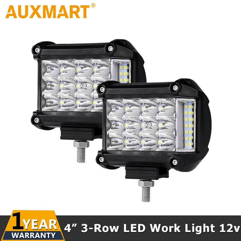Auxmart 4inch 57W LED Work Light 12v 24v Driving Lamp Spot Flood Offroad Led Headlights SUV Truck 4WD ATV PickUp Car Lighting