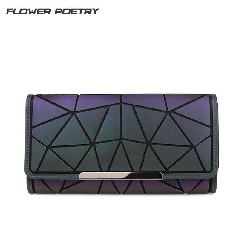 Брендовые дизайнерские женские длинные кошельки кошелек Геометрия световой Клатч женский телефон сумка три раза держателя карты carteira