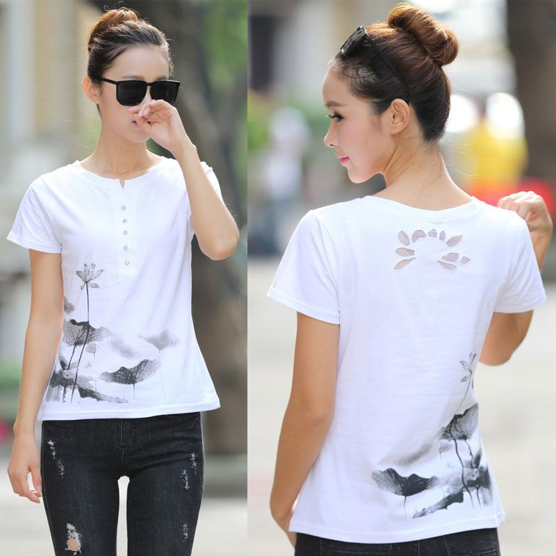 Été femme T-shirt grande taille femmes mignon imprimé T-shirt de base encre chinoise peinture style Lotus à manches courtes haut décontracté
