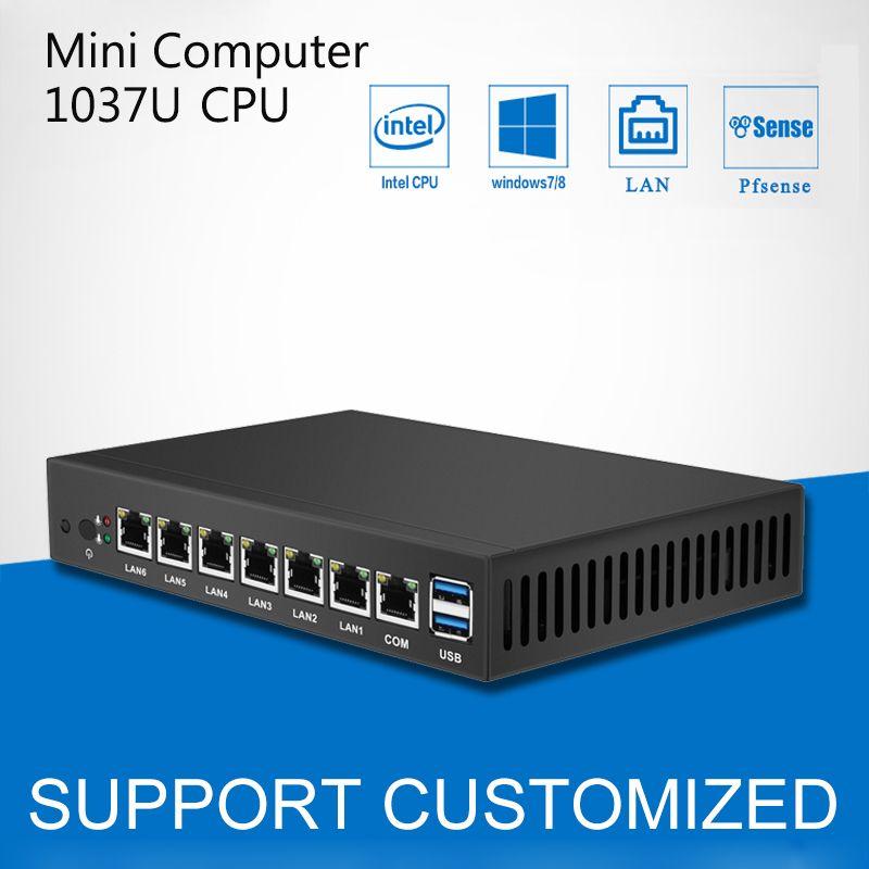Mini PC Dual Core 6 Gigabit Ethernet LAN Celeron 1037U pfSense Routeur Pare-Feu Mini Ordinateur De Bureau Windows informatique industrielle