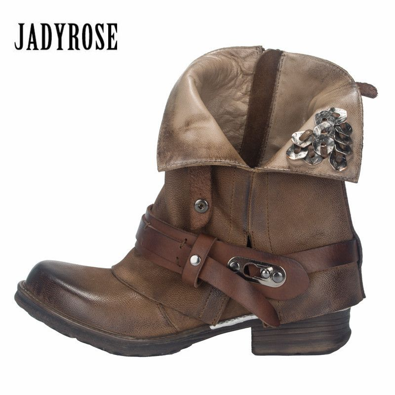 Jady Rose Vintage Martin Boots Brown Ankle Boots for Women Metal Decor Autumn Winter Botas Platform Genuine Leather Rubber Shoes