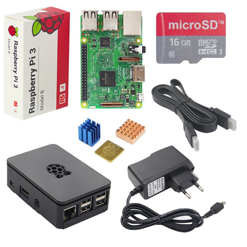 Original UK Raspberry Pi 3 Starter Kit + ABS Case + 2.5A Power Supply Adapter + Aluminum Heat Sink for Raspberry Pi 3 Model B