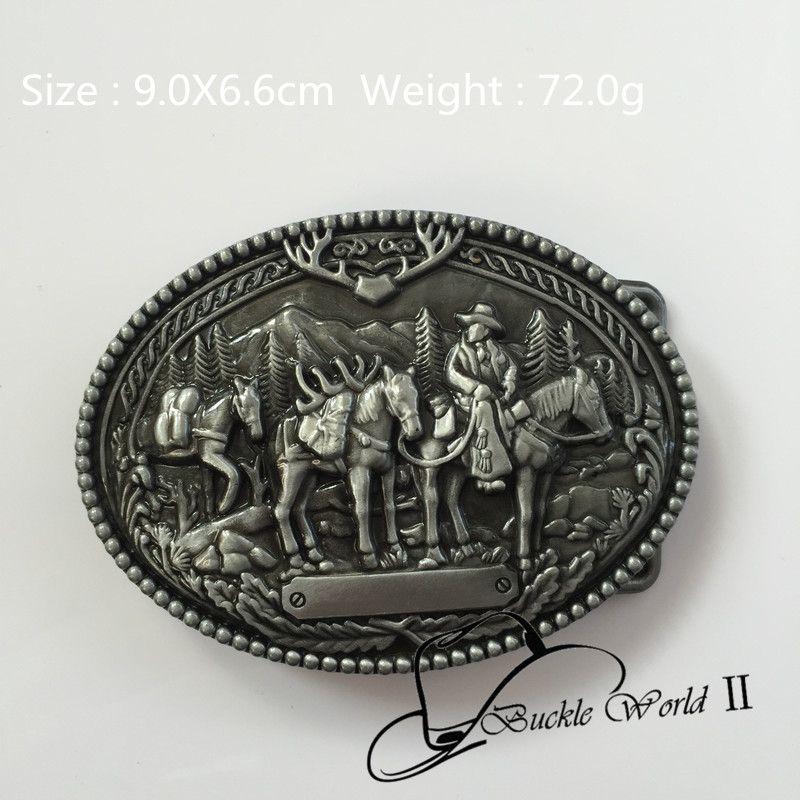 2016 neue Ankunft 9,0*6,6 cm 72g Oval cowboy gürtel schnallen Silber Farbe Metall Für 4 cm Breiten Gürtel Mode Männer Frauen Jeans Zubehör
