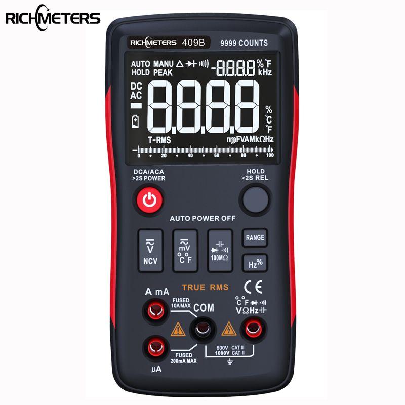 RM409B Trms Multimètre Numérique Bouton 9999 Compte Avec Graphique à Barres Analogique AC/DC Tension Ampèremètre Courant Ohm auto/Manuel