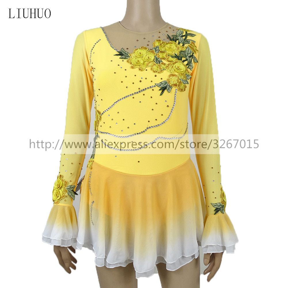 Figure Skating Dress Women's Girls' Ice Skating Dress Competitive performance clothing Long sleeve Yellow Flower decoration