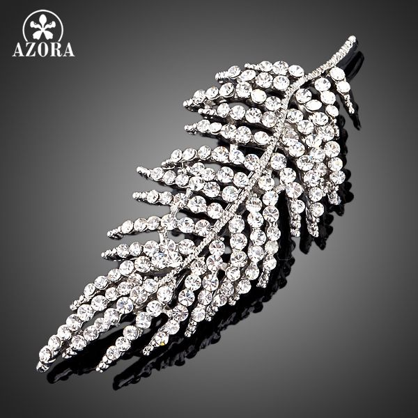 AZORA White Gold Color Stellux Transparent Austrian Crystal Leaves Design Pin Brooch TP0007