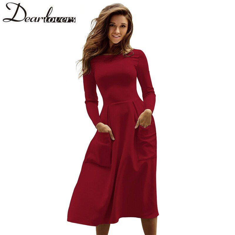 Dear lovers Winter Autumn Women Casual Midi Dresses Skater Dress Female Long Sleeve Burgundy Sexy Office Pleated Dress LC61891