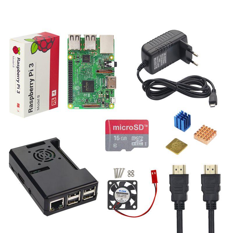 Малина Pi starter kit Raspberry Pi 3 Модель B + ABS чехол + 16 г TF карты + 3A Адаптеры питания + вентилятор + радиатор + HDMI кабель